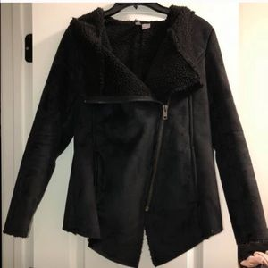 H&M faux suede black Moto Sherpa jacket size 4